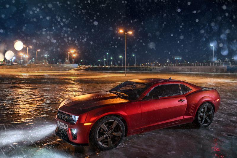 car, camaro, chevrolet, sportcar, night, light, snow, red, 2016, winter, auto, race Camarophoto preview