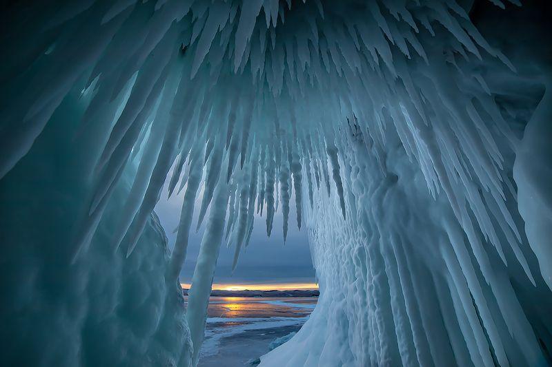 лед, байкал, ольхон, пейзаж, зима, рассвет, закат Байкальские иглыphoto preview