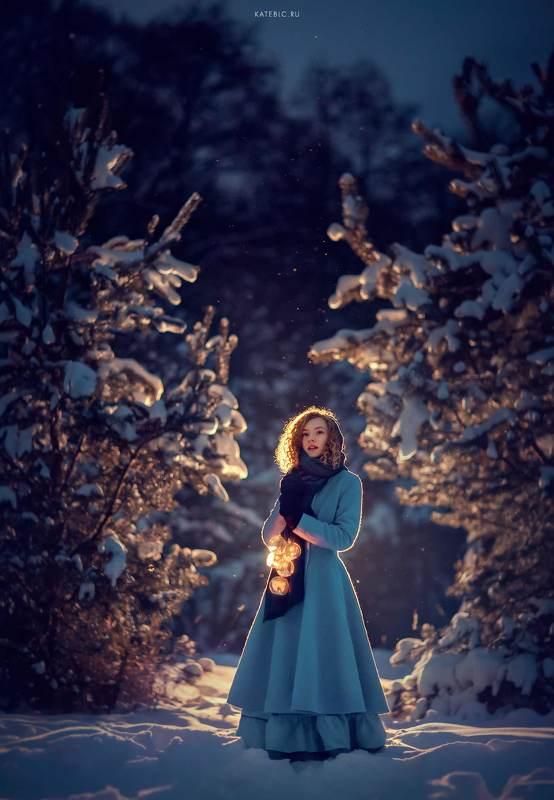 вечерняя фотография, фотосессия на природе, девушка, зима Дашаphoto preview