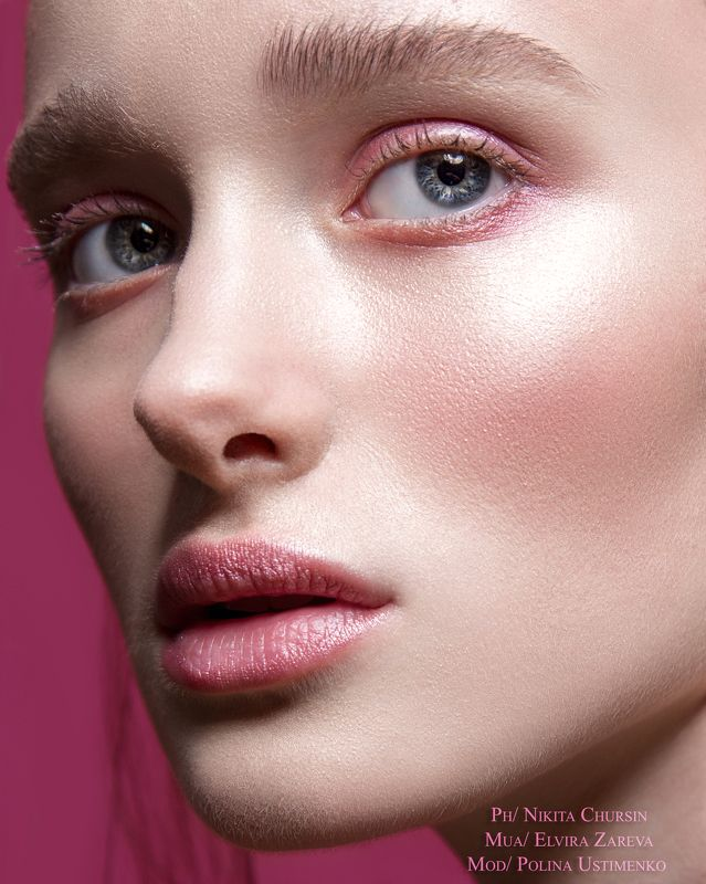 женский портрет, бьюти, макияж, розовый photo preview