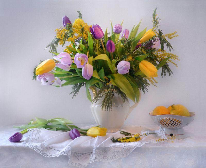 still life,натюрморт, фото натюрморт, весна, март, 8 марта, праздник, цветы, тюльпаны, мимозы Праздничный...photo preview