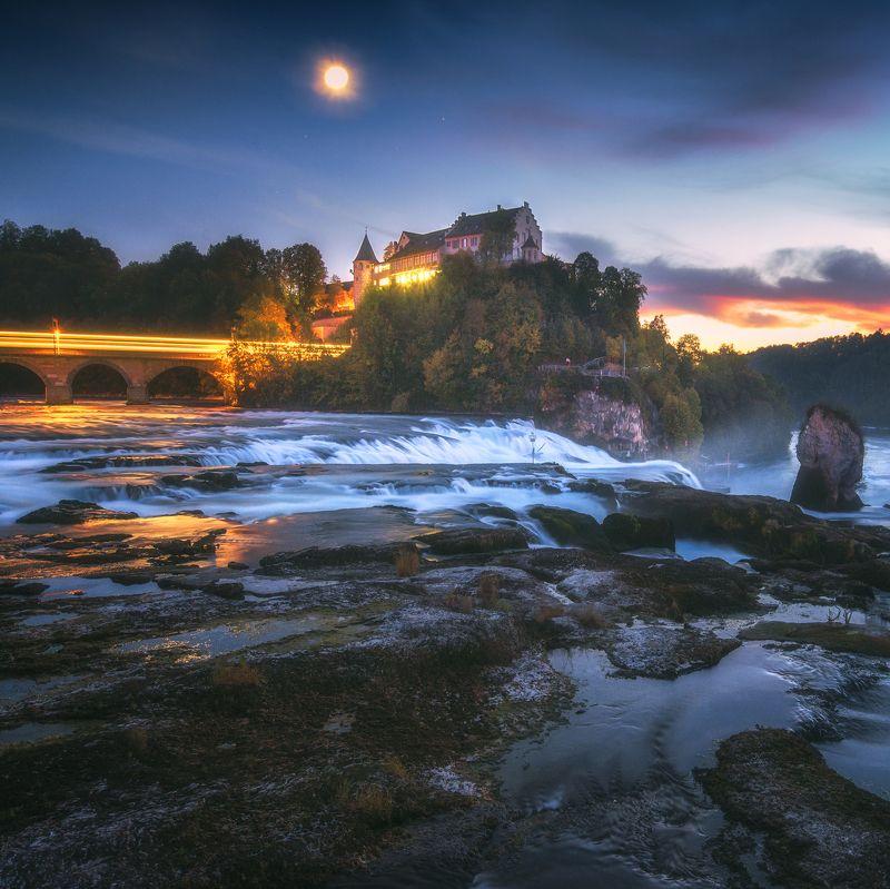 waterfall,cityscape,landscape,nightphotography,travel,swiss,moon,longexposure Rhine fallsphoto preview