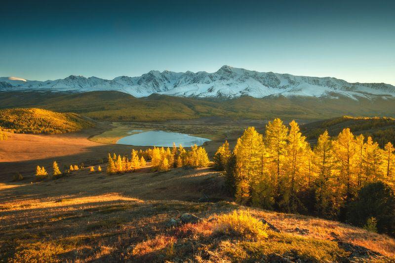 россия, алтай, республика алтай, сибирь, осень, природа, пейзаж, горы, хребет, озеро, закат, вечер, отражение, джангысколь, ештык кель Алтайские краскиphoto preview