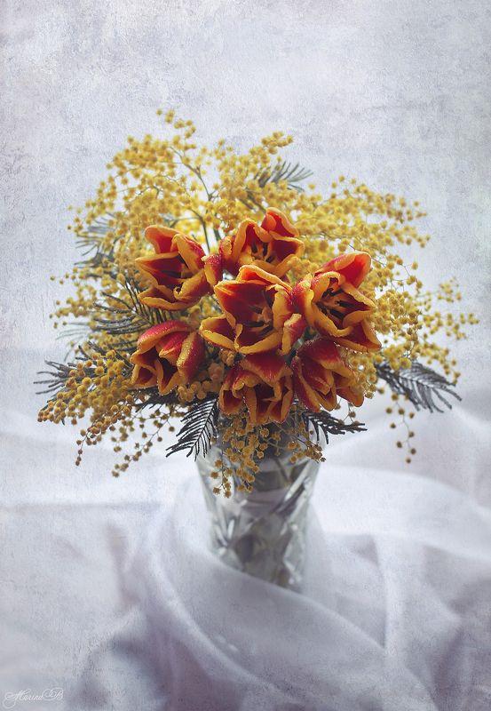 мимоза, тюльпаны, праздник, настроение С праздником 8 марта!photo preview