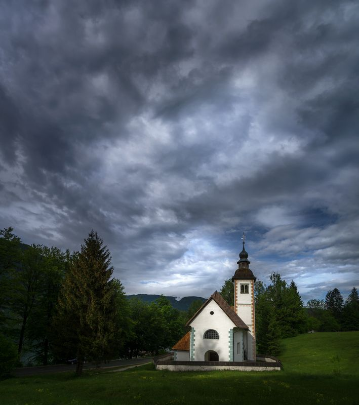 landscape nature scenery chapel church clouds mountain slovenia Passions in Slovenian Alps IIphoto preview