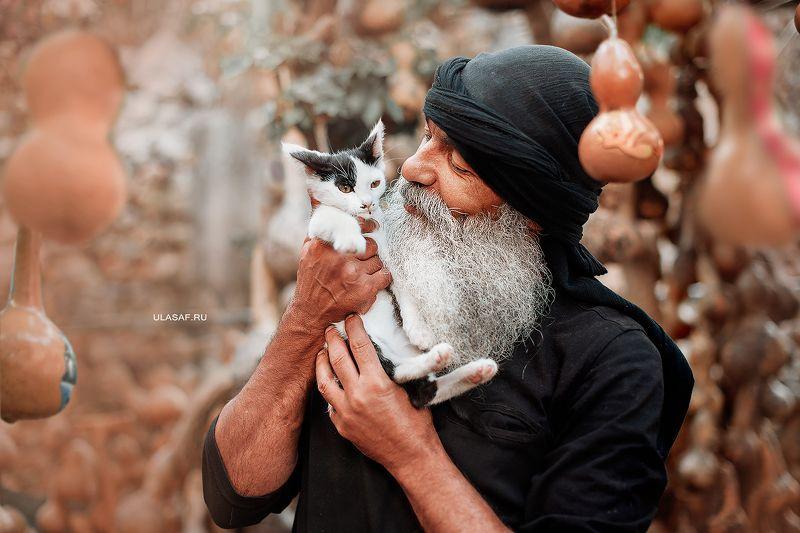 портрет, portrait, man, котенок, кошка, cat, лето, summer, любовь, love, нежность, tenderness, сказка, волшебство Ümit Çağlarphoto preview