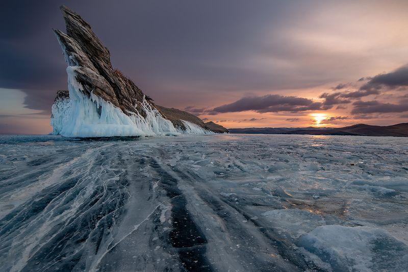 лед, байкал, ольхон, пейзаж, зима, рассвет, закат, огой Остров Огойphoto preview