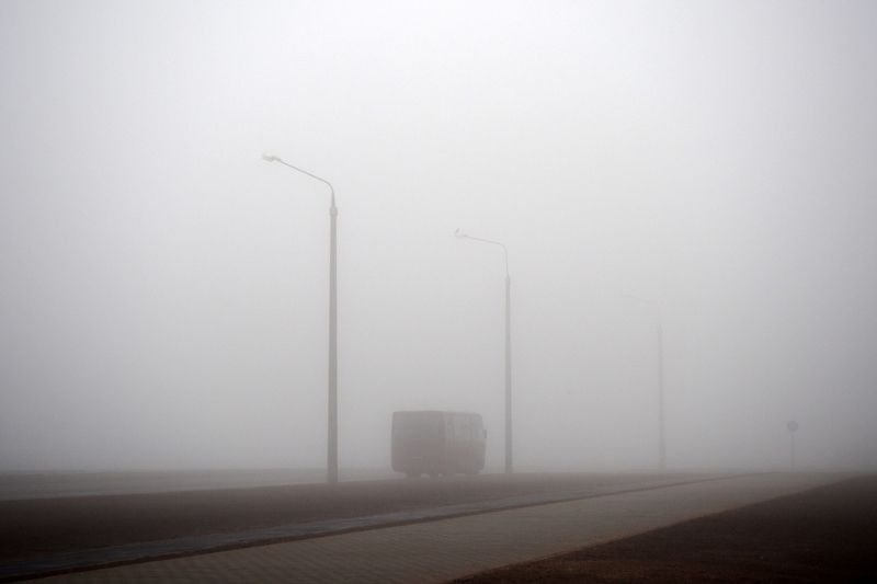 belarus fog mist autumn bus Bus stopphoto preview