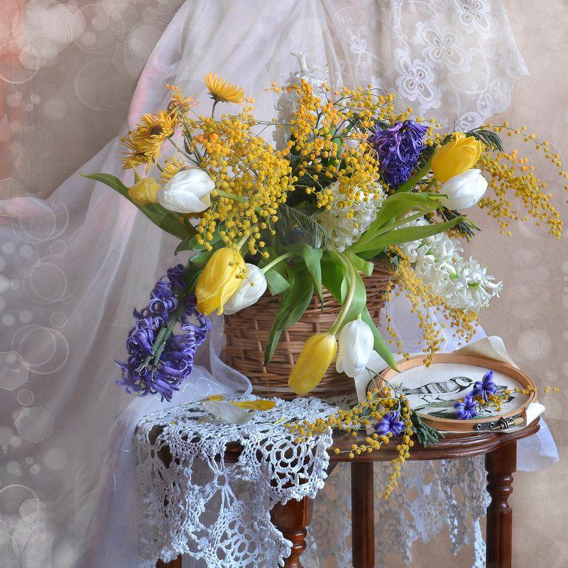 still life,натюрморт,цветы, фото натюрморт, тюльпаны, мимоза, март, закат, гиацинты, весна И всё-таки весна случится!photo preview