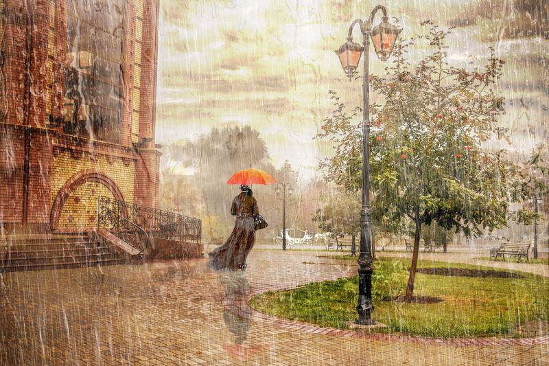 дождь, пейзаж, город, стилизация Дождь в чужом городеphoto preview