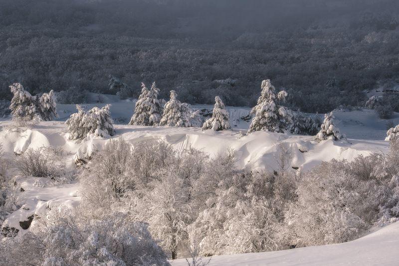 россия, крым, полуостров, пейзаж, природа, черное море, зима, снег, лес, заход солнца, закат, сугроб, ай-петри Другой Крымphoto preview