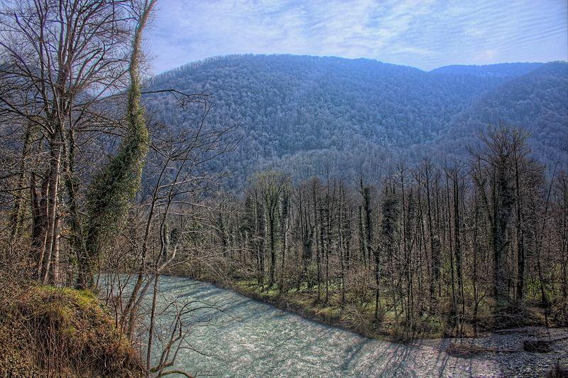 вода, горы, деревья, лес, река, дерево far from civilizationphoto preview