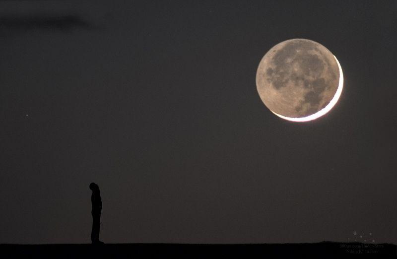 луна, месяц, звезды, силуэт, ночь, астрофото, пепельный свет луны, телескоп Прогулка под Лунойphoto preview
