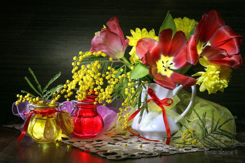 весна, цветы, букет, мимоза, тюльпаны, ваза Букетphoto preview