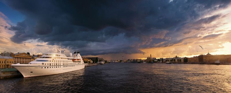 санкт-петербург, панорама, нева, река, закат, корабль, тучи, небо, вечер, россия photo preview