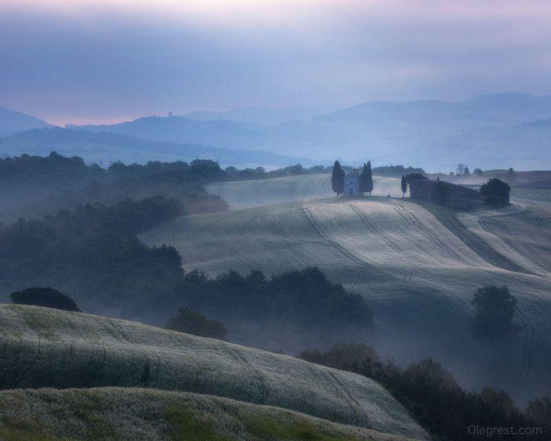 италия тоскана церковь рассвет italy tuscany curch Утро в Тосканеphoto preview