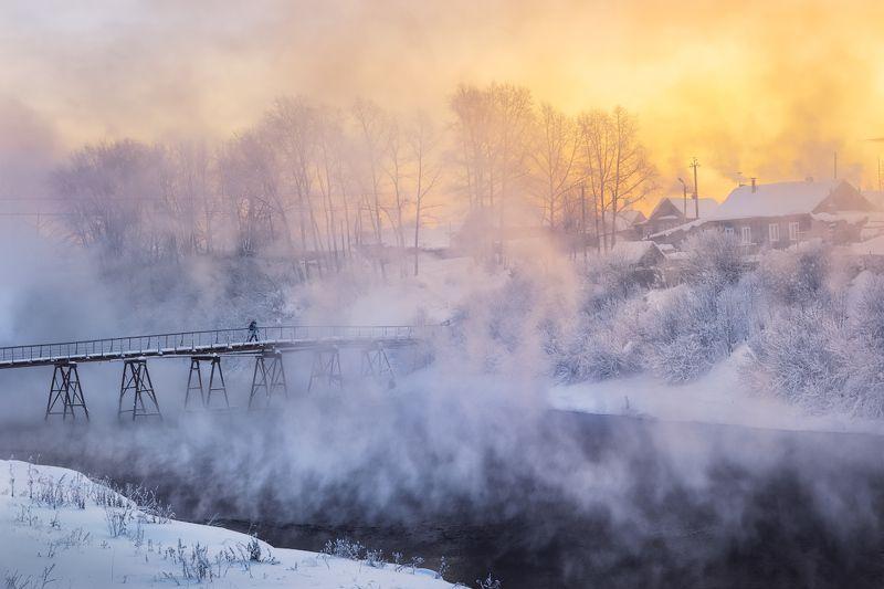 зима, река, холод, туман По дороге на восходphoto preview