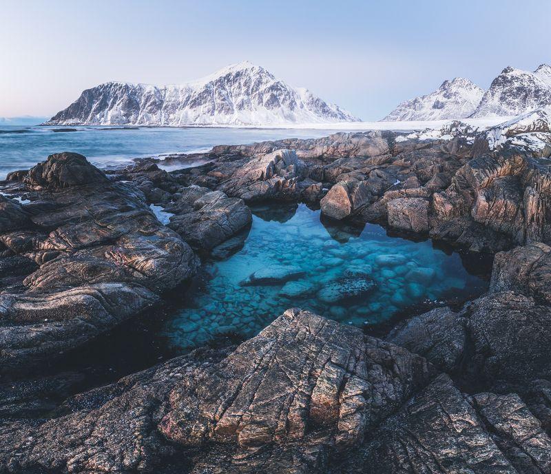 norway,lofoten,norwegian,skagsanden,landscape,sea shore,arctic,winter,water,crystal,frost,ice cold,northern,north Arctic winter paradisephoto preview