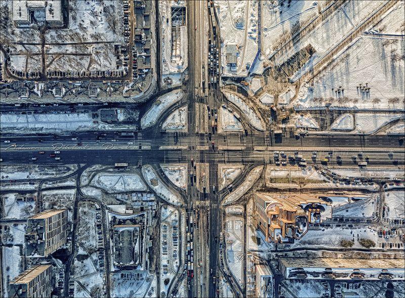 санкт-петербург_перекрёсток_с высоты_аэросъёмка_зима_пасмурно Перекрёсток.photo preview