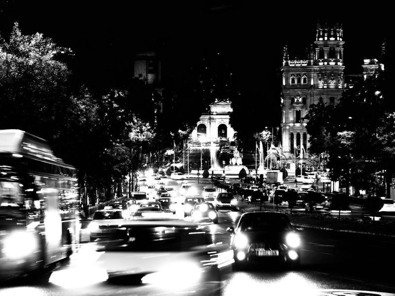 Blacka and white, Monochrome, Nightlife, Big city, Madrid, Spain The city nightlife in full playphoto preview