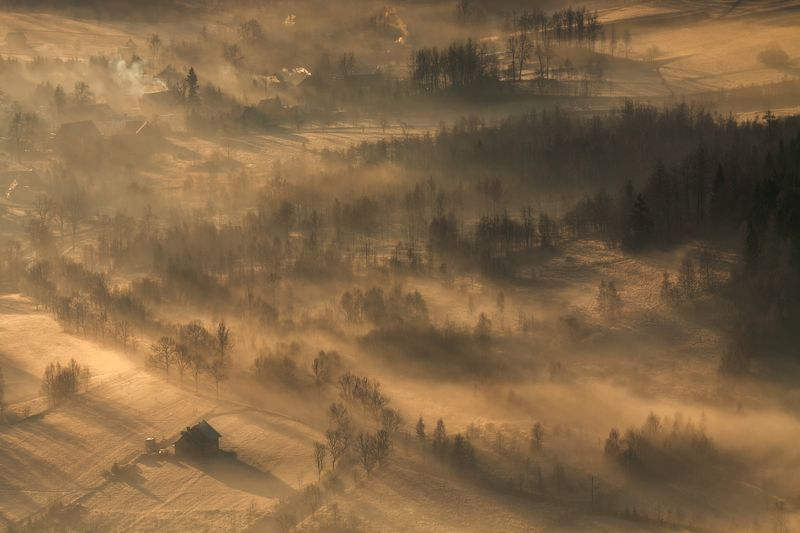 landscape,canon,mist,light,autumn Illuminated by the Sun.photo preview