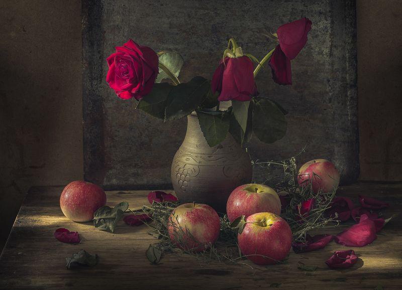 натюрморт,яблоки,розы photo preview