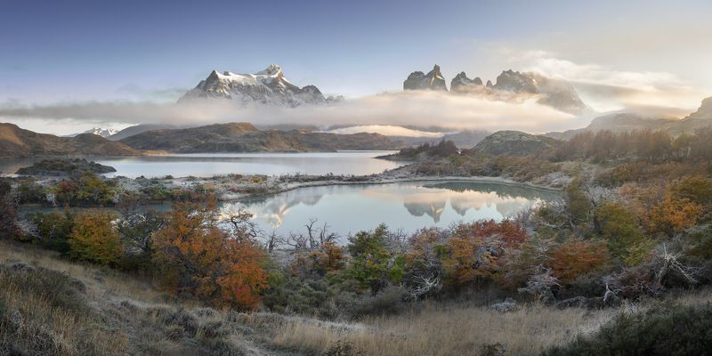 america, andes, beautiful, blue, chile, clouds, cuernos, del, frost, glacier, hiking, hill, ice, lake, landmark, landscape, light, mirror, morning, mountain, national, nature, orange, outdoor, paine, pano, panorama, panoramic, park, patagonia, peak, pehoe Paradise Lostphoto preview