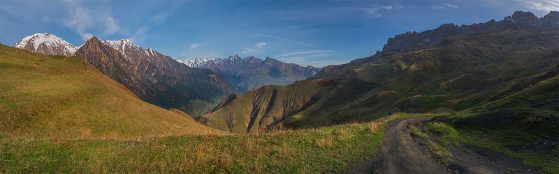 природа, пейзаж, горы, кавказ, природа россии, дикая природа, закат, свет, облака, вечер, весна,  панорама Дорогами труднымиphoto preview