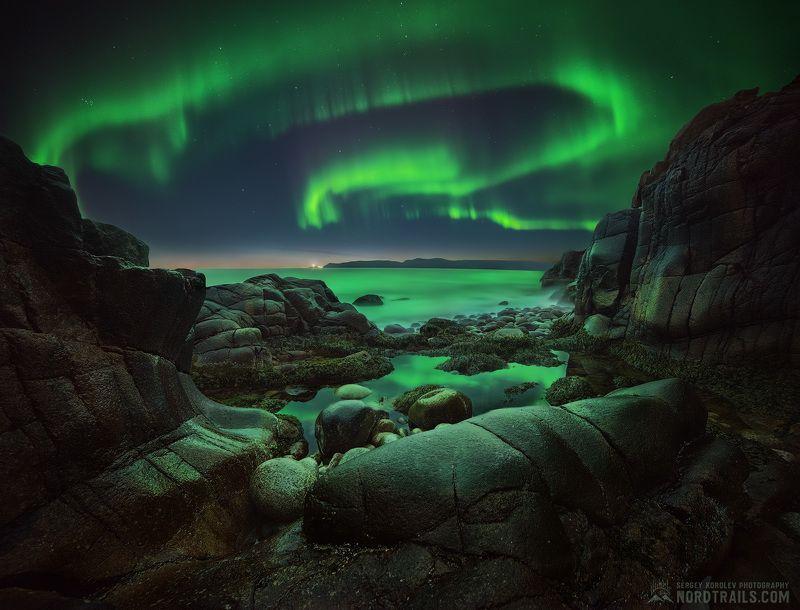кольский, кольский полуостров, териберка, северное сияние, полярное сияние, север, ночь Rocks & Auroraphoto preview