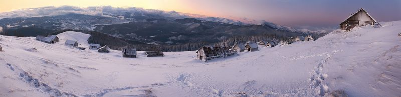 карпаты, утро, зима winter short morning at too long panoramaphoto preview