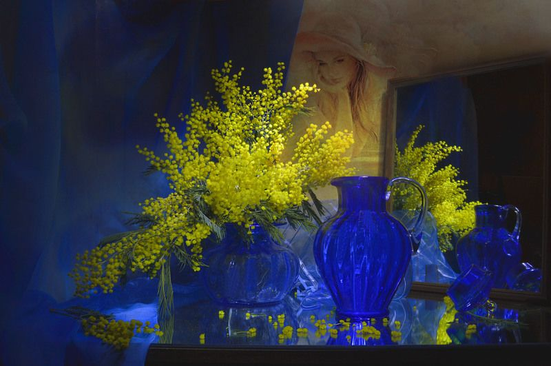 still life,натюрморт,фото натюрморт, цветы, мимозы, весна, март, зеркало, отражение, ...вспоминая желтую мимозу...photo preview