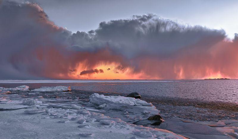 пейзаж,море,закат,вечер,небо,облака Зимний закат.photo preview