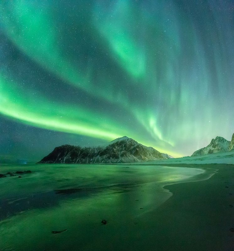 winter,norway,norwegian,aurora,night,sky,aurora borealis,northern lights,northen lights,night sky,green, Winter lightsphoto preview