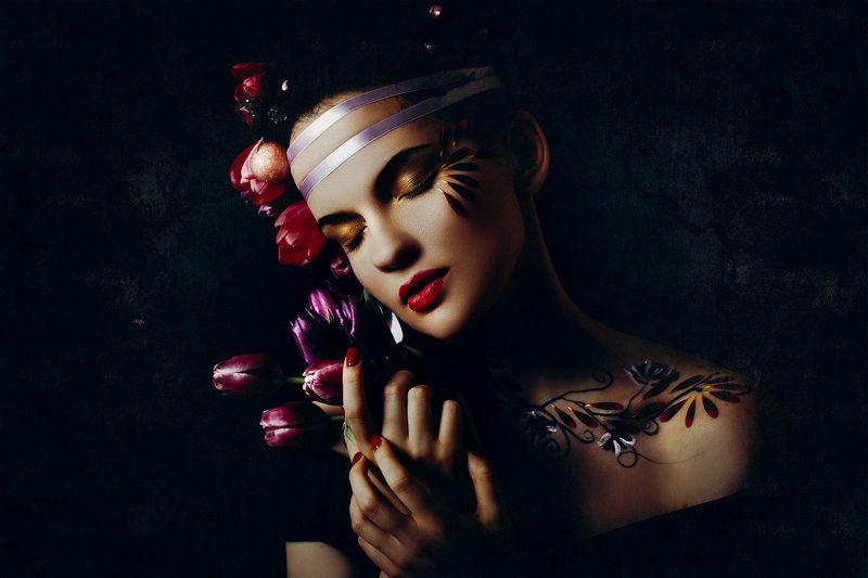woman, beauty, fashion, art, studio, light Lost in flowersphoto preview