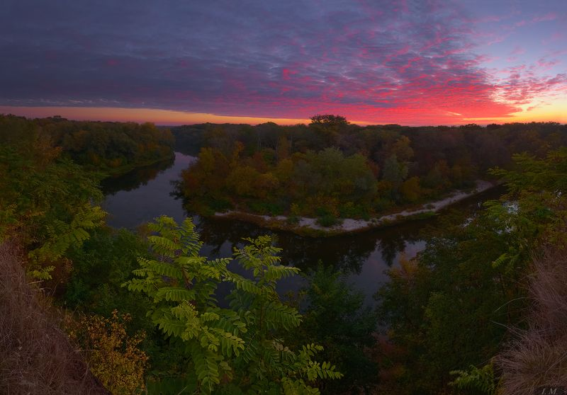 рассвет, утро, краски, осень, река, Псел, панорама, пейзаж, небо, облака, свет, кровавый bloody sunrisephoto preview
