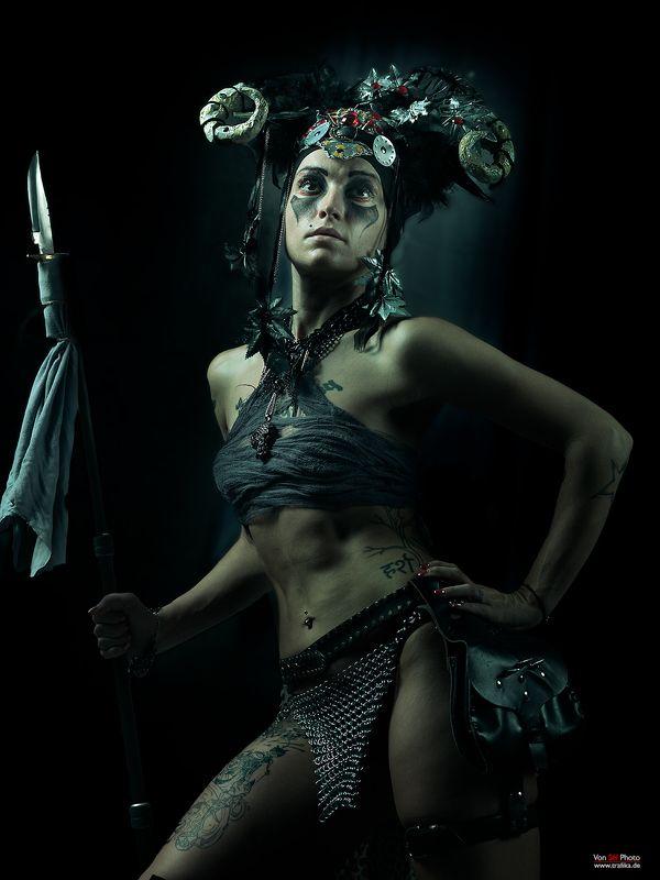 girl, warrior, darkness, spear, horns, skin Dieselphoto preview