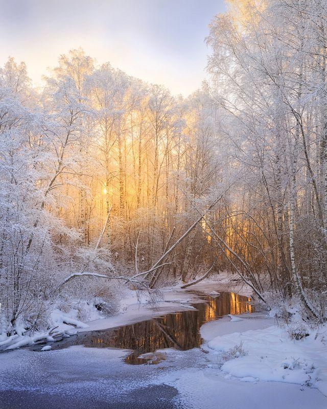 зима, изморозь, река, куржак Петляет речка Осетровкаphoto preview