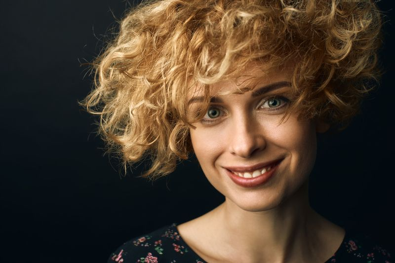 портрет, студия, Portrait, curly Ксенияphoto preview