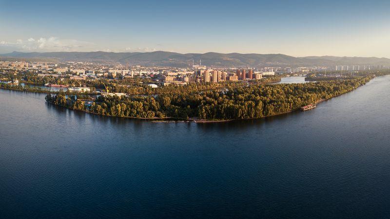 пейзаж, город, панорама, река, енисей, красноярск, горы, сопки, остров, вечер Енисейphoto preview