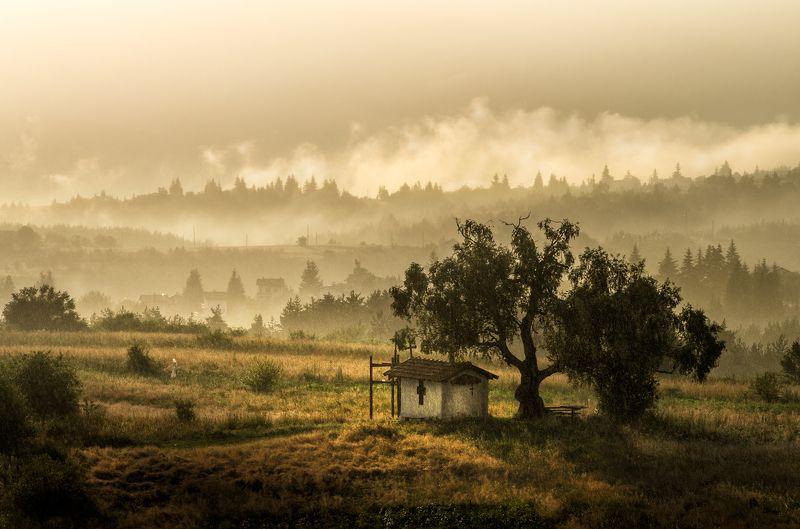landscape nature sunset fog foggy mist misty scenery chapel mountain vitosha plana bulgaria закат пейзаж Rainy sunsetphoto preview