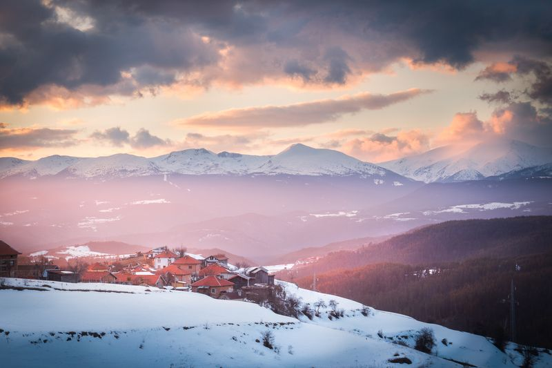 rila, bulgaria, rhodope,mountains,clouds,sunset,travel,adventure,winter, snow On the edgephoto preview