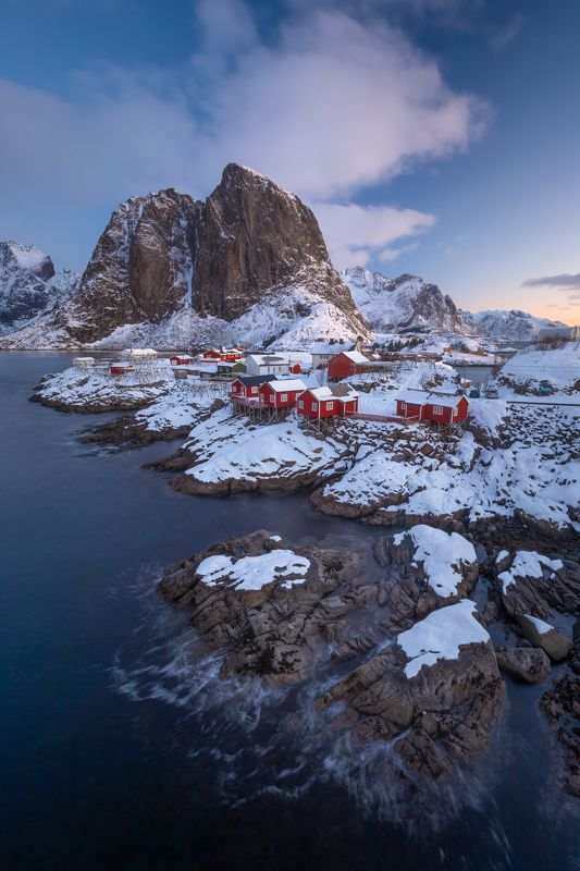 winter,lofoten,hamnoy,norway,norwegian,robuer,red houses,sea,sea shore,sunrise,mountains,north, Red Robuer houses of Lofotenphoto preview