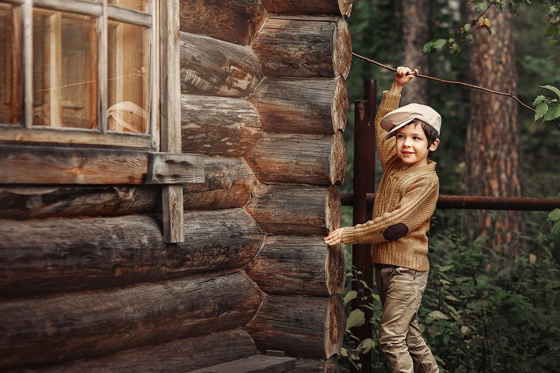 мальчик, самолет, дети Мечтательphoto preview