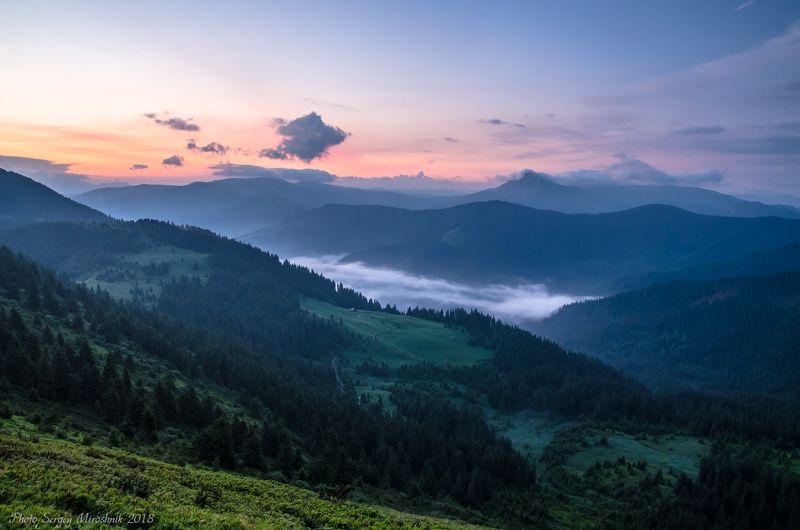 пейзаж, карпаты, утро, лето, горы, мармароссы, украина Горы просыпаютсяphoto preview