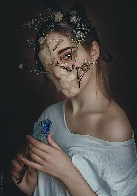 украина, коростышев, портрет, цветы, молчание, глаза, взгляд, девушка, модель, фотограф, чорный, Words like violence Break the silencephoto preview