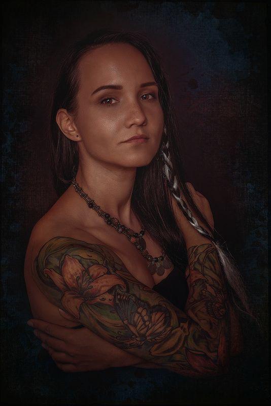 модель, индеанка, красота, фэнтези, татуировка, model, tattoo, fantasy photo preview