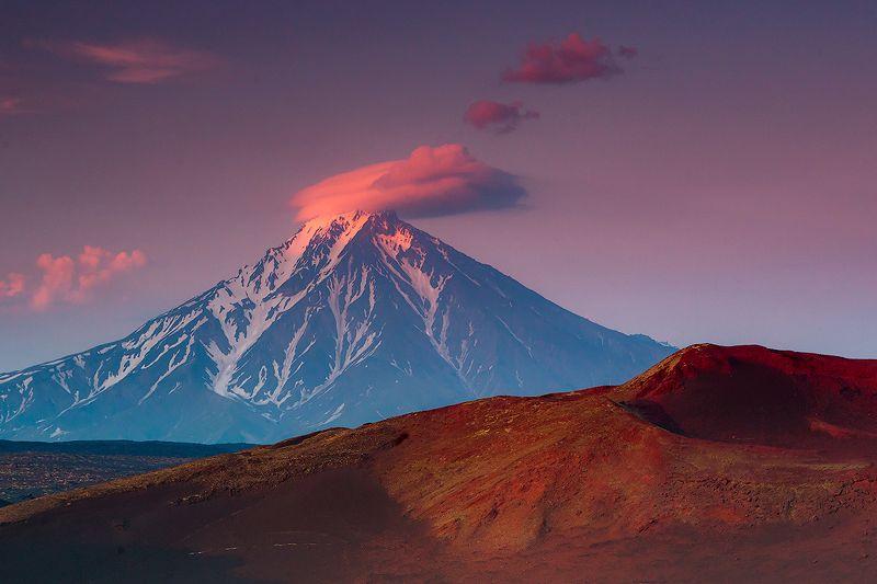 камчатка, вулкан, закат, пейзаж, природа, путешествие, фототур, озеро Удина на закатеphoto preview