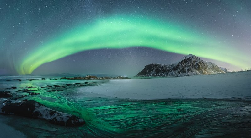 aurora,northern lights,lofoten,norway,norwegian,winter,sky,night,green Under the green ringphoto preview