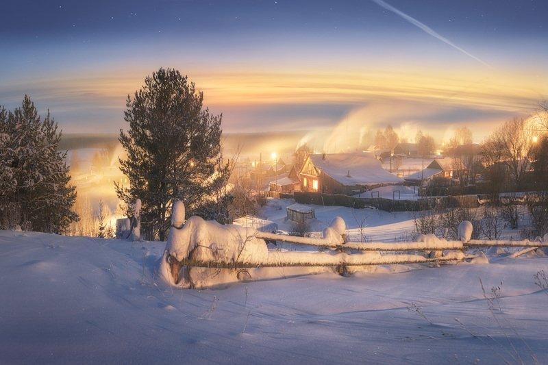 зима, смог, холод, деревня, сумерки Холодные сумеркиphoto preview