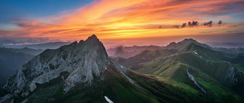 закат, большой тхач, малый тхач, асбестная, горы, пейзаж, рассвет, кавказ, адыгея, ачешбоки Природный парк \